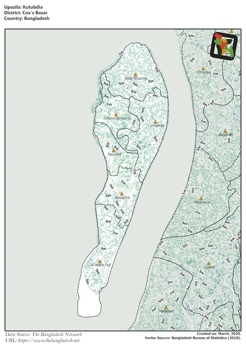 Kutubdia Upazila Elevation Map Cox's Bazar District Bangladesh