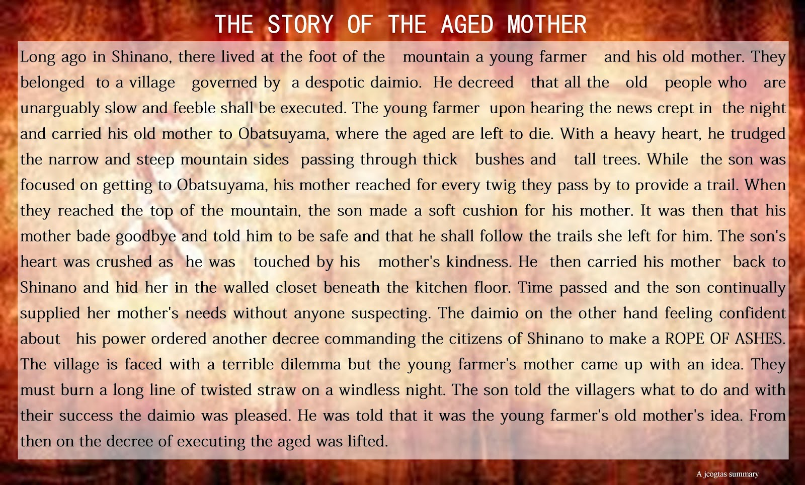 the story of the aged mother