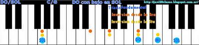 acorde piano chord DO con bajo en SOL