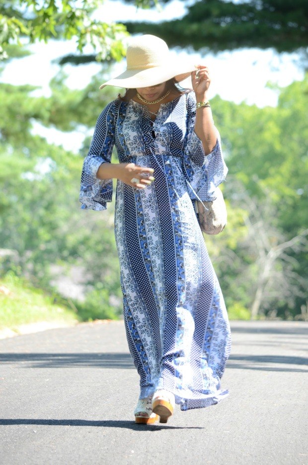 Summer Maxi Dress and Lucky Brand Crochet Lace Wedges Wide Brim woven Cat Eye Sunglasses