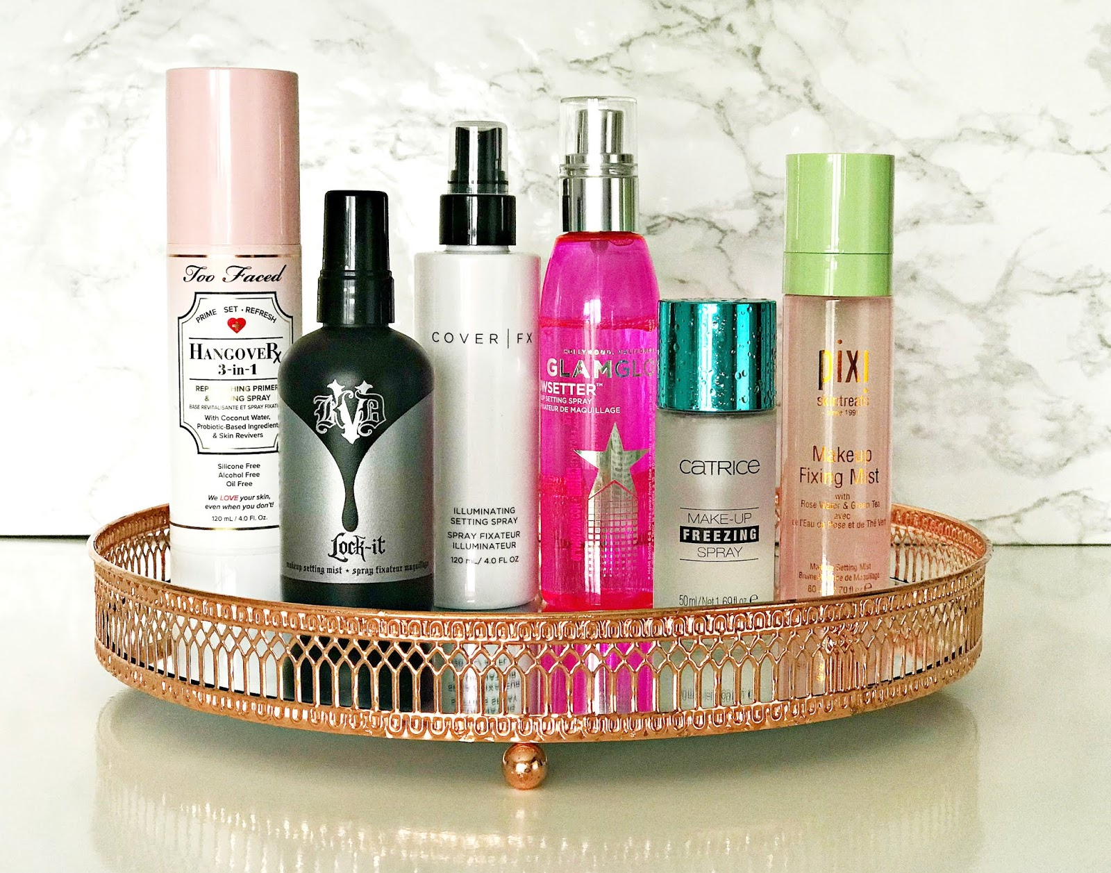 Setting Spray, Cover Fx Illuminating Setting Spray, GLAMGLOW Glowsetter Spray, Catrice Makeup Freezing Spray, Kat Von D Lock It Makeup Setting Mist, Pixi Makeup Fixing Mist, Too Faced Hangover 3-in-1 Replenishing Primer and Setting Spray, Review