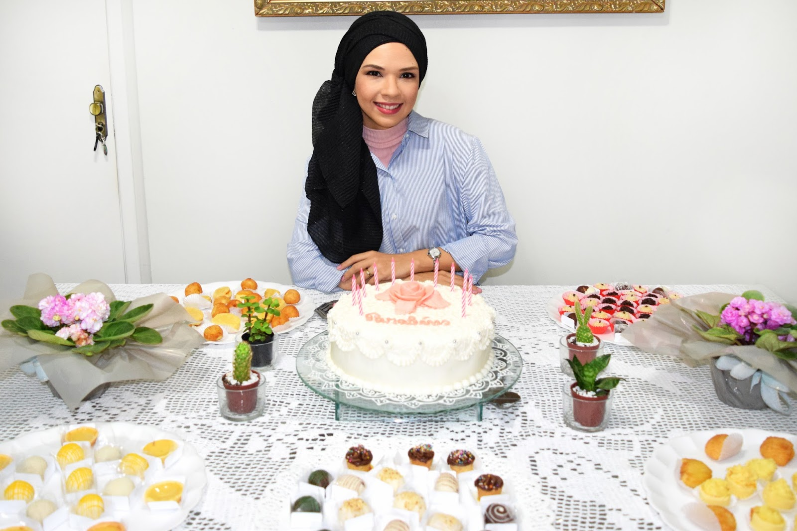 Look do aniversário // Camisa azul listrada hijab, turbante, moda muçulmana, moda recatada, moda cristã, moda evangélica, zara, look do dia, ootd