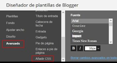 Añadir CSS en plantilla blog