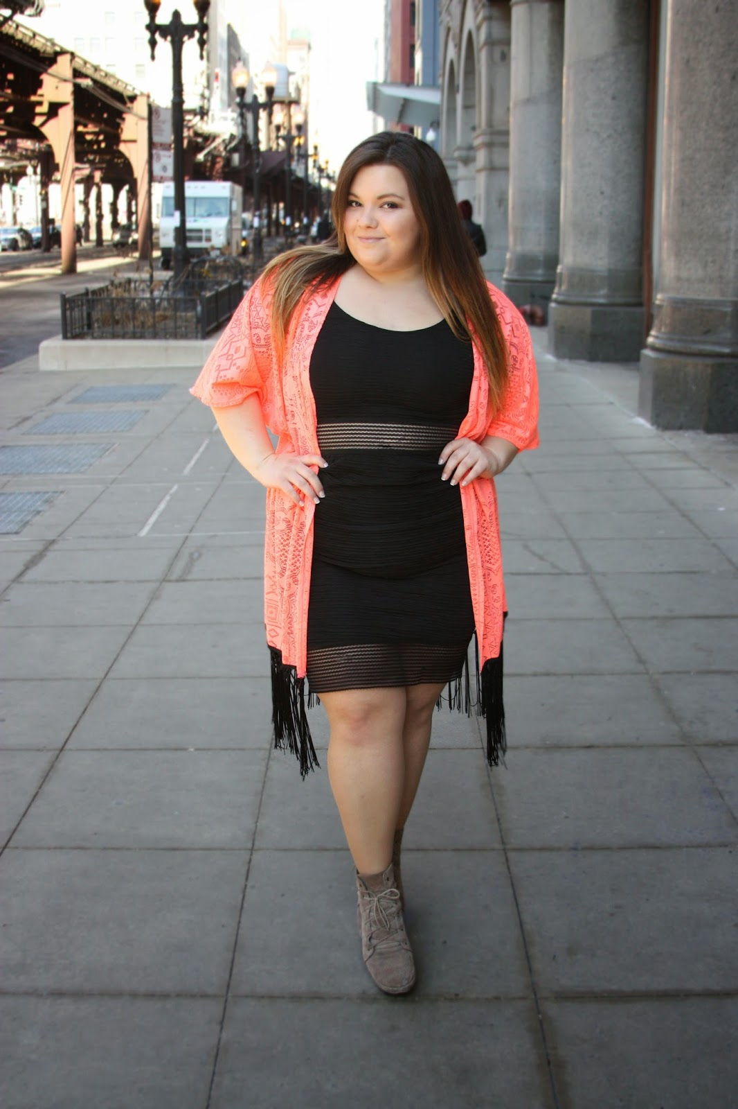 BRIGHT COLORED kimono, Charlotte Russe, Charlotte Russe plus size clothing line, Chicago, LITTLE BLACK DRESS, maxi skirt, Natalie Craig, natalie in the city, plus size, plus size fashion blogger, chicago, kimono, fringe, ankle boots, booties, see-through, fatshion, curvy women, bbw, summer bright color