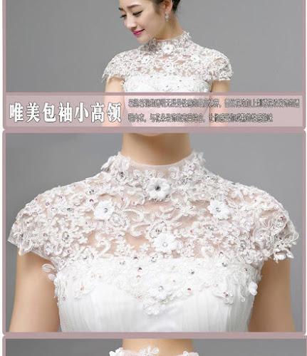 gaun pengantin tampak depan bordir dada