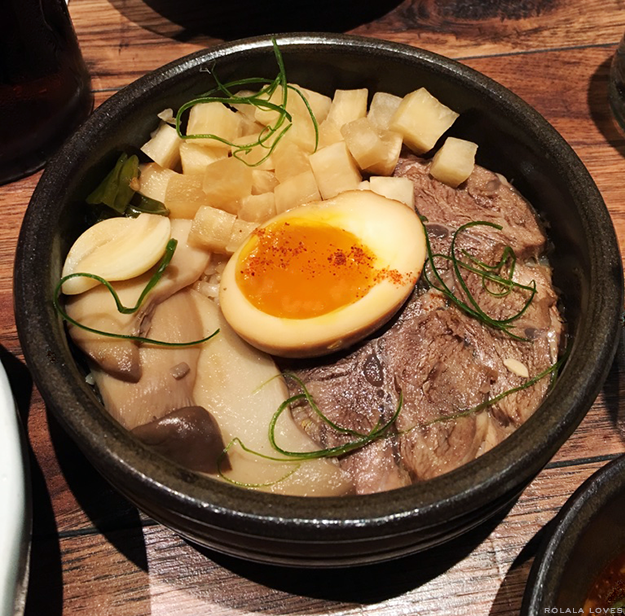 Jang Jo Rim with Buttered Rice and Soft Boiled Egg