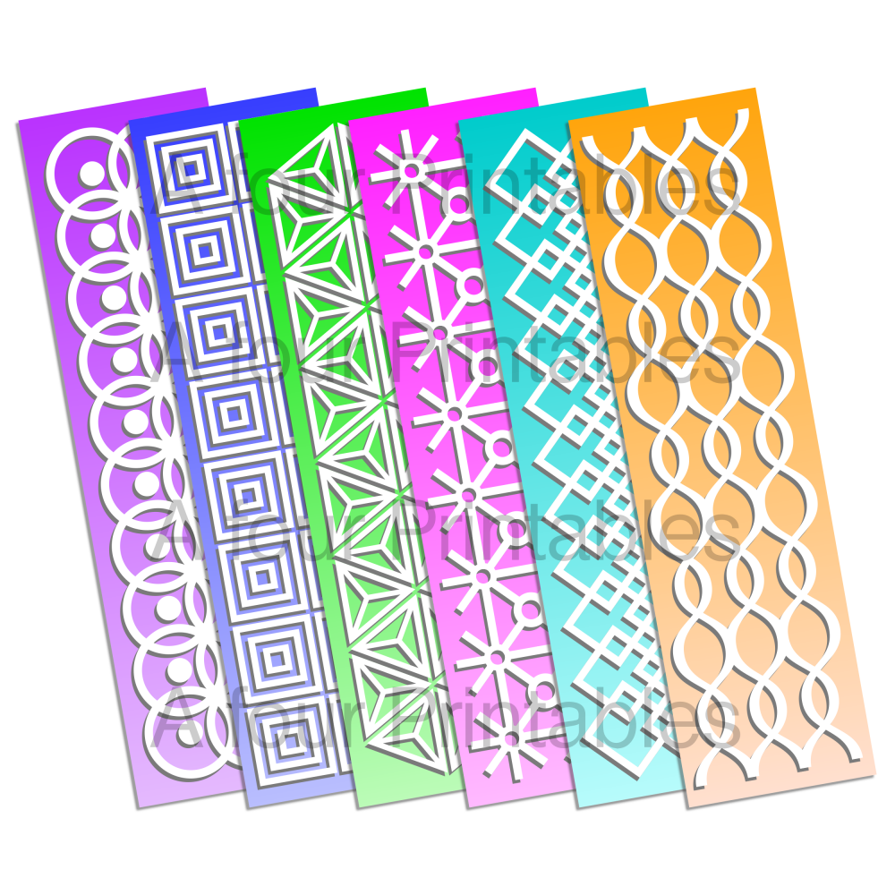 Printable double sided geometric graduated colour bookmarks from A four Printables.