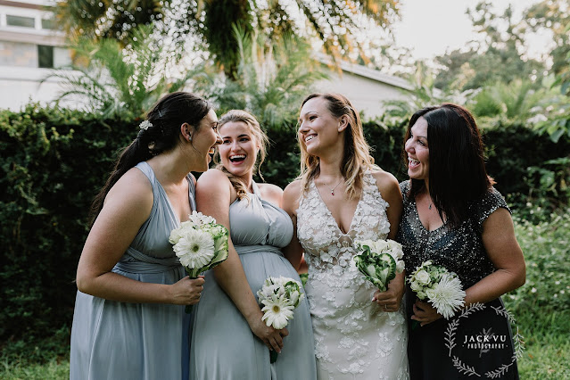 bridesmaid and bride in blue dresses
