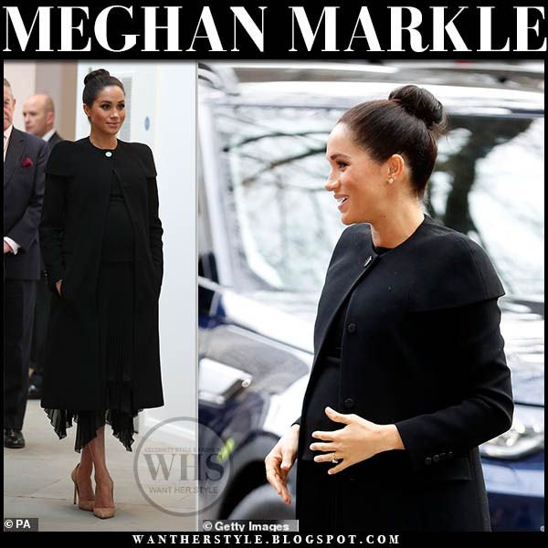 Meghan Markle Duchess of Sussex in black givenchy coat, black pleated skirt and beige suede pumps stuart weitzman royala family elegant style