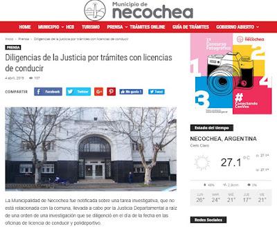 Municipalidad de Necochea escándalo licencias de conducir