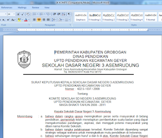 Download Contoh SK KOMITE Sekolah Terbaru Format Microsoft Word