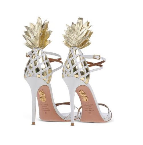Aquazzura pineapple gold and white stiletto sandals