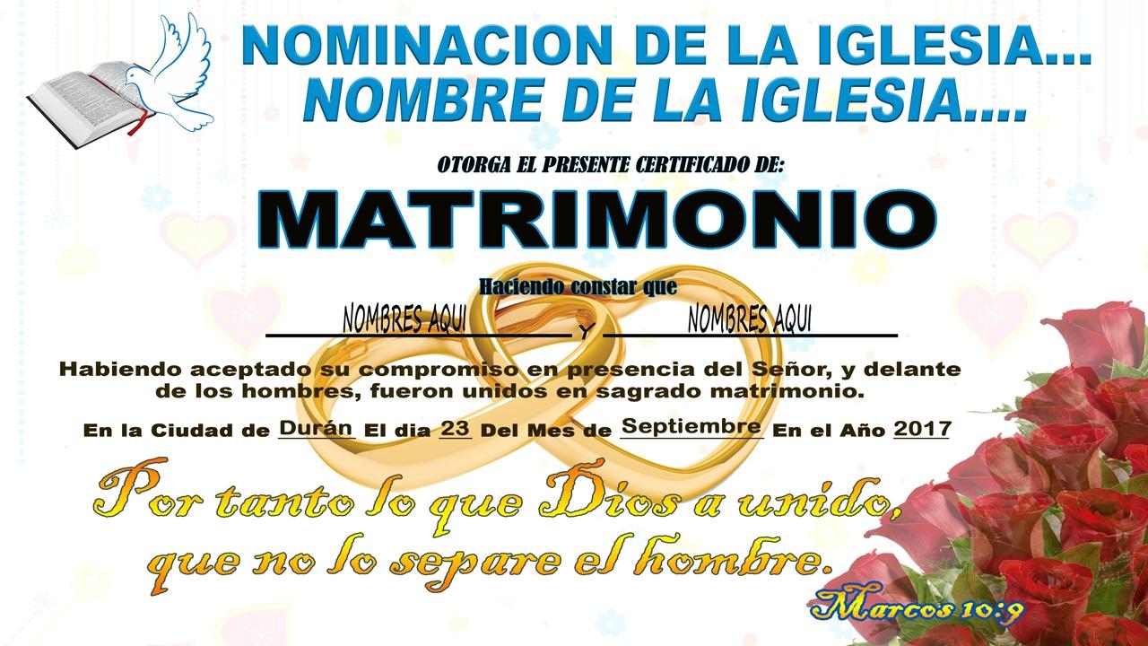 Certificado de matrimonio religioso - 2 plantillas psd
