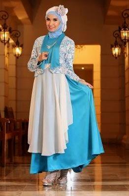 Contoh model baju muslim untuk pesta elegan