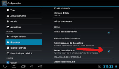 Menu Android AOC Bleeze 7Y2241