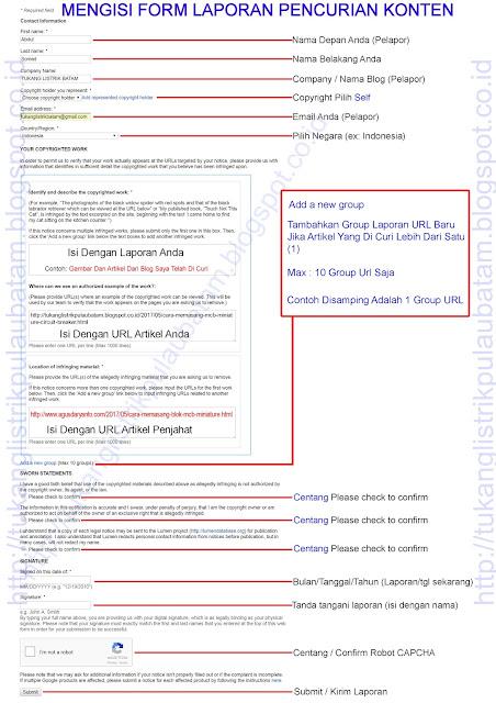 Cara Mengisi Form Laporan Google DMCA