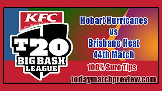 Today BBL T20 44th Match Prediction Brisbane vs Hobart Dream 11 Team