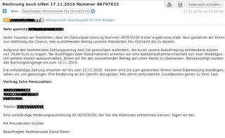 Email mit Geldforderung von Pay Online 24 AG