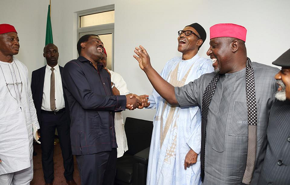 Okorocha, Ngige & Top Igbo Leaders Visit Buhari At The Defence House In Maitama Abuja