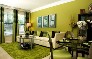 sala decorada verde
