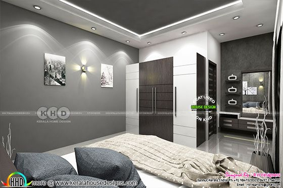 Black and white interior designs in Kerala