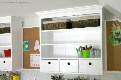 diy built in wall hutch above desk