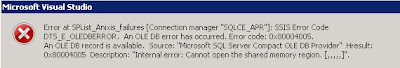 "An OLE DB error has occurred.  Error code:  0x80004005.  An OLE DB record is available.  Source:  ""Microsoft SQL Server Compace OLE DB Provider"" Hresult:  0x80004005 Description:  ""Internal error: Cannot open the shared memory region."""