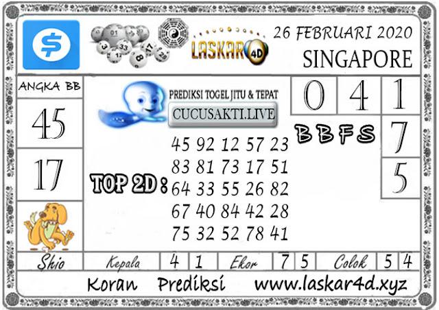 Prediksi Togel SINGAPORE LASKAR4D 26 FEBRUARI 2020