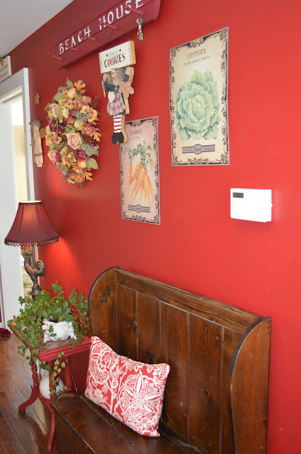 Red Kitchen wall with country decor