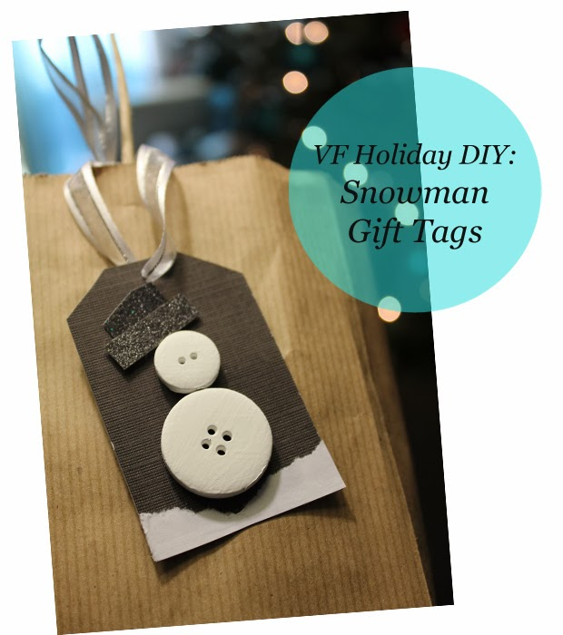 snowman button gift tag