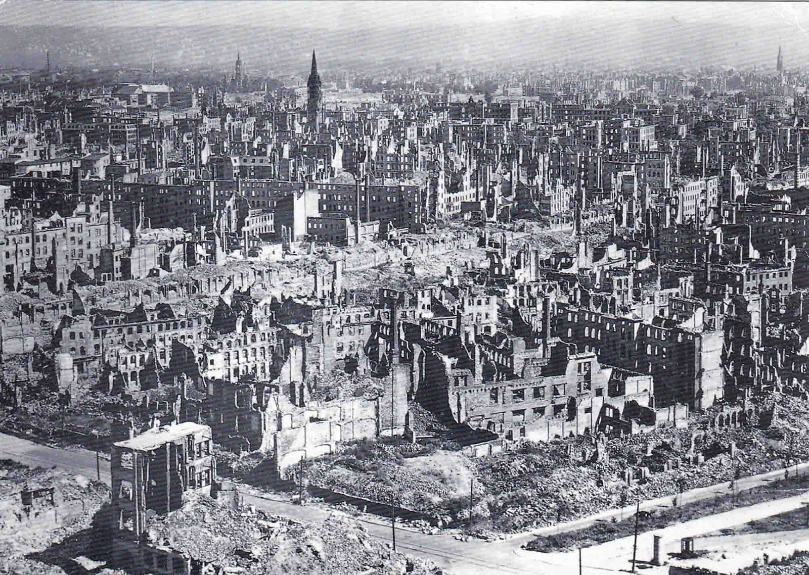 Over ninety percent of the city center was destroyed.