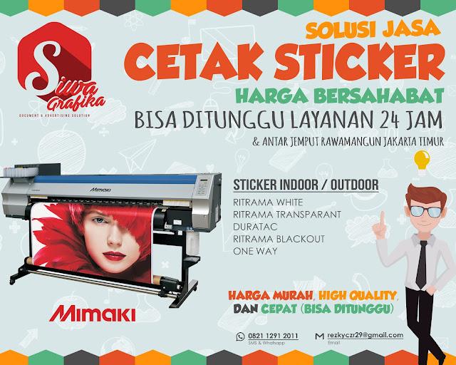 Jasa Cetak Stiker 24 Jam Cepat di Rawamangun Jakarta