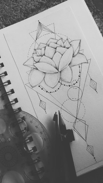 geometrical tattoo, geometrical lotus tattoo design, tattoo designs