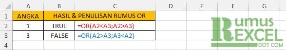 Contoh Rumus / Fungsi OR di Excel