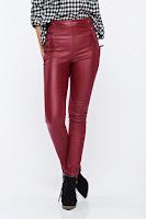 Pantaloni visinii casual conici cu talie inalta din piele ecologica •