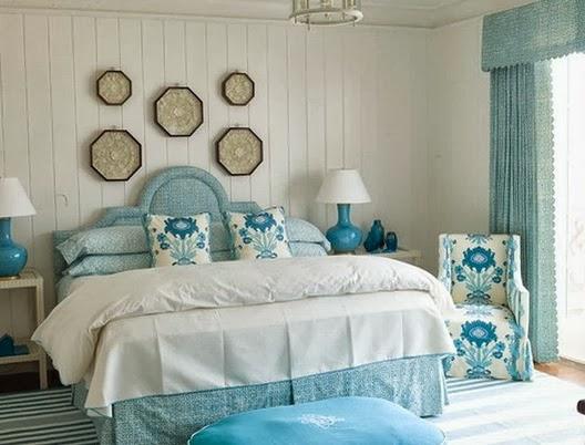 Habitaciones en turquesa y blanco ideas para decorar for Cortinas azul turquesa