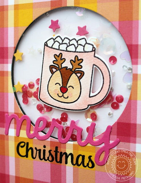 Sunny Studio Stamps: Mug Hugs & Christmas Icons Reindeer Hot Cocoa Card by Vanessa Menhorn.