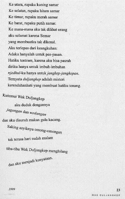 Contoh Analisis Puisi Wak Duljangkep Sindhunata Kehidupan