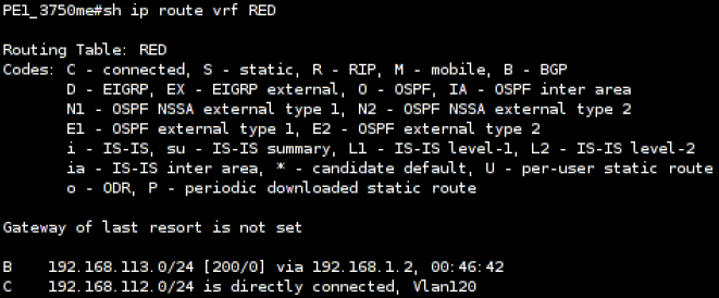 Cisco 3750 MP-BGP Routing Information