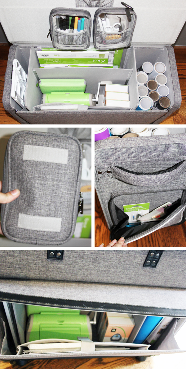 organize Cricut tools and supplies in a tweed rolling cart