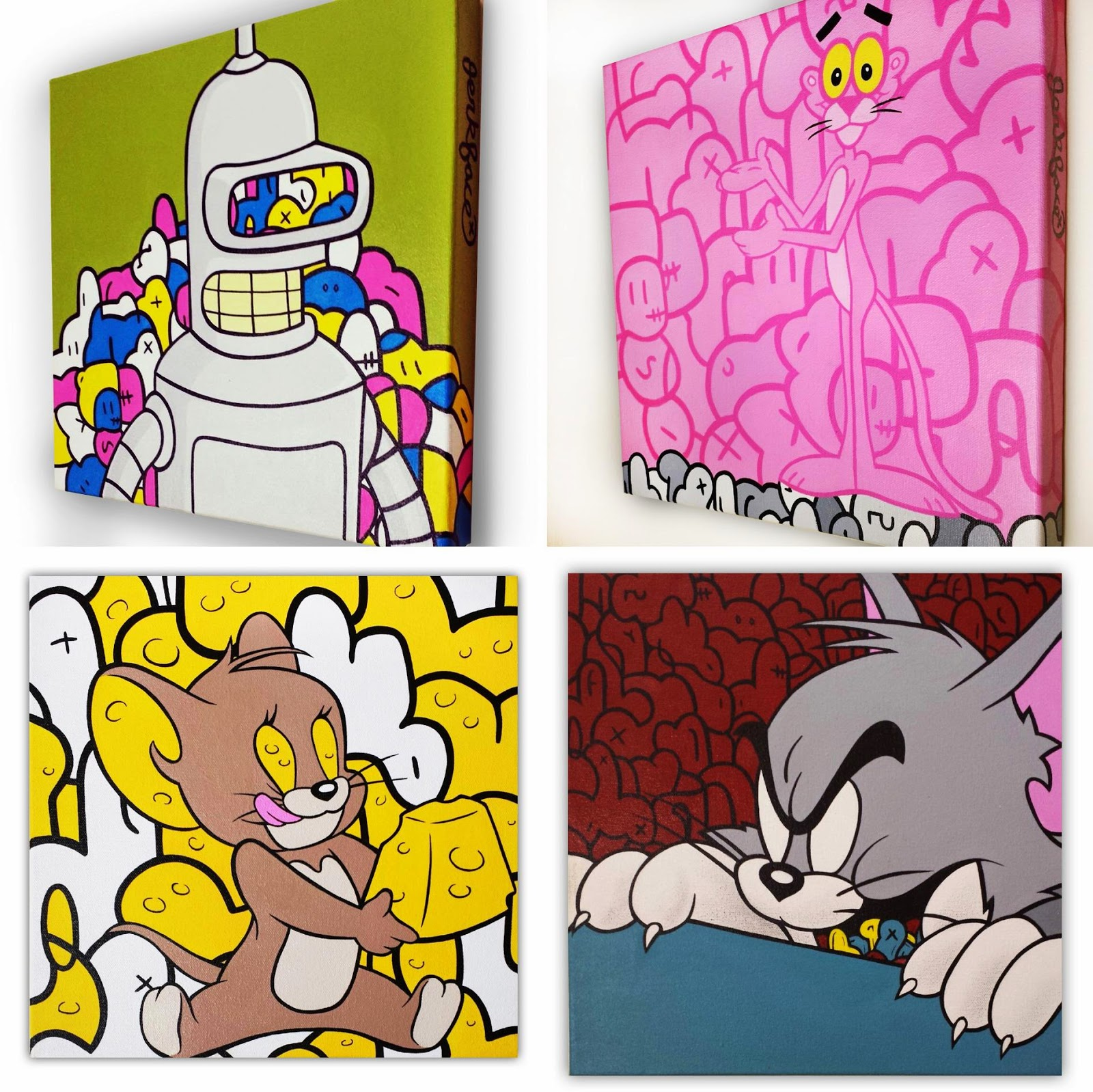 """30 Days of Jerk"" Pop Culture Painting Series by Jerkface - Futurama Bender, Pink Panther, Tom & Jerry"