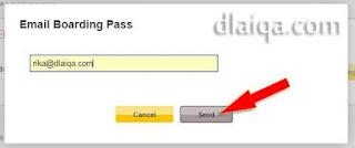 kirim Boarding Pass ke email