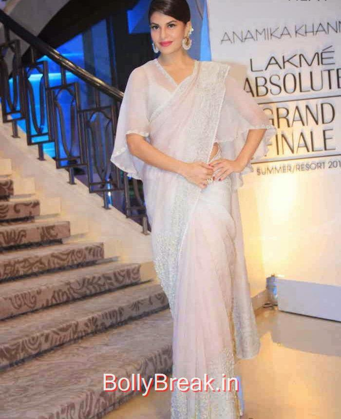 Jacqueline Fernandez Photos, Jacqueline Fernandez in White Saree at Lakme fashion Week 2015