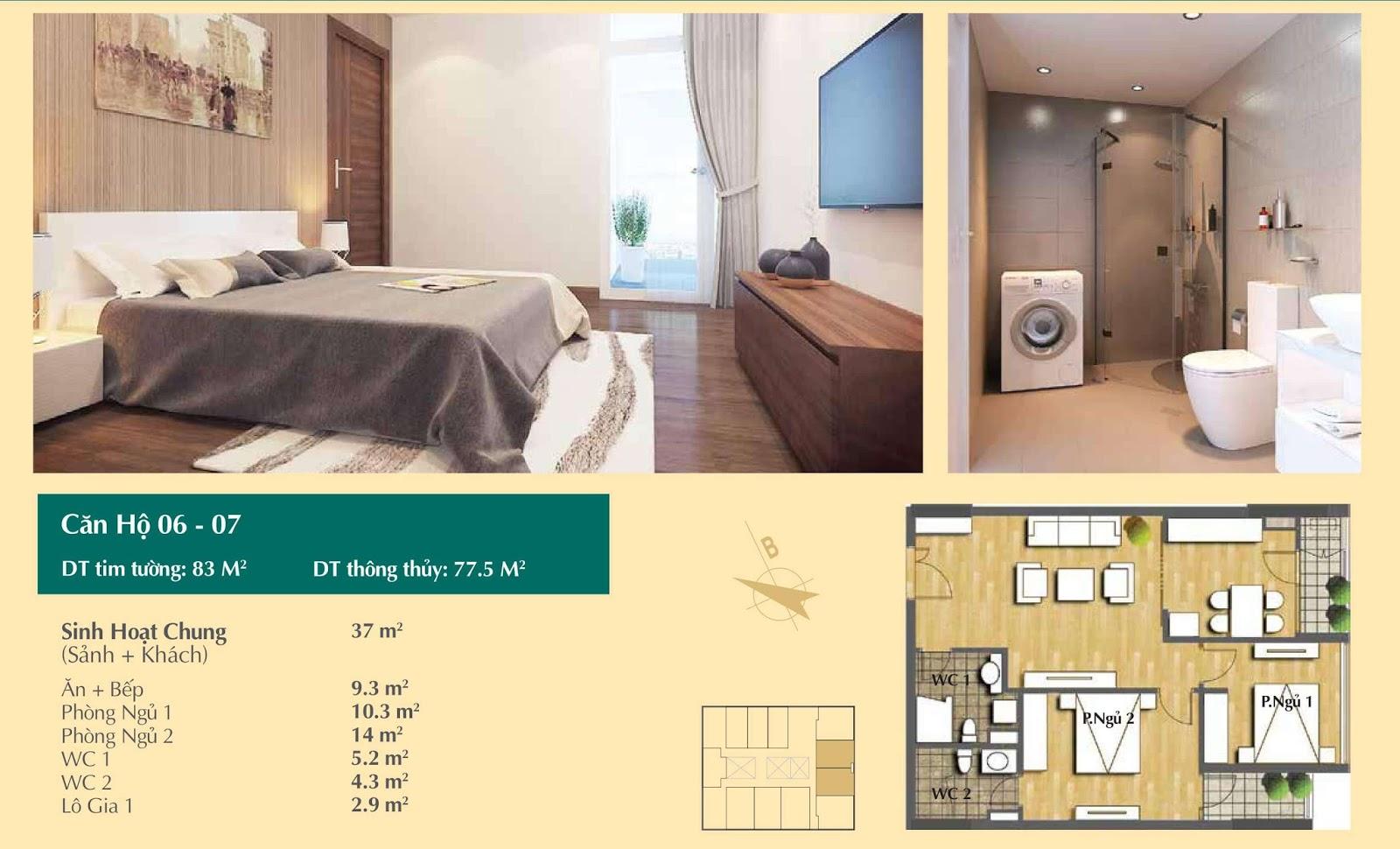 Thiết kế căn hộ số 06, 07 - 67m2 Hoàng Cầu Skyline
