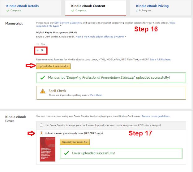 kindle ebook - steps 16 to 17