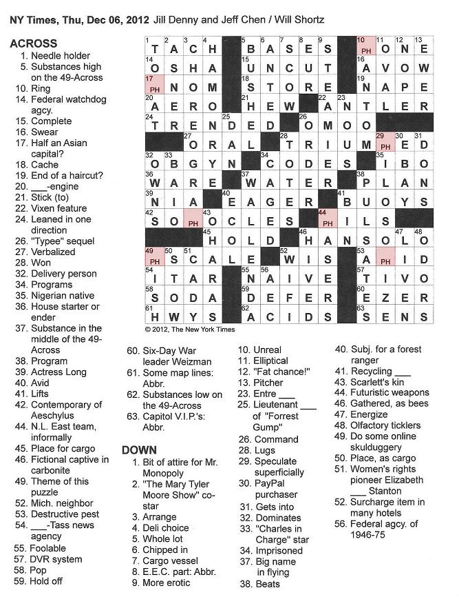 The New York Times Crossword in Gothic: 12.06.12  pH