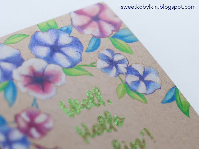 Florals Pencils Colouring on Kraft Cardstock