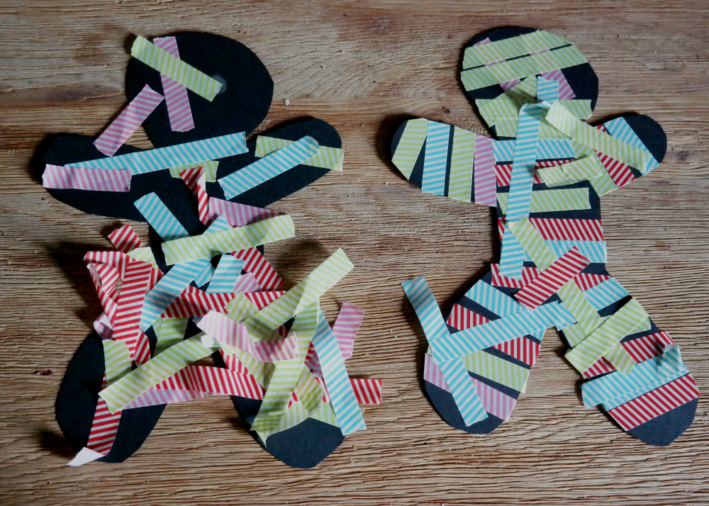 HALLOWEEN IDEAS FOR TODDLERS: Washi Tape Mummies