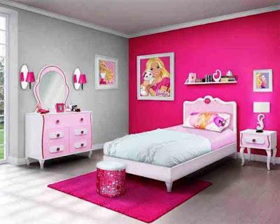 Desain Kamar Tidur Anak Tema Barbie