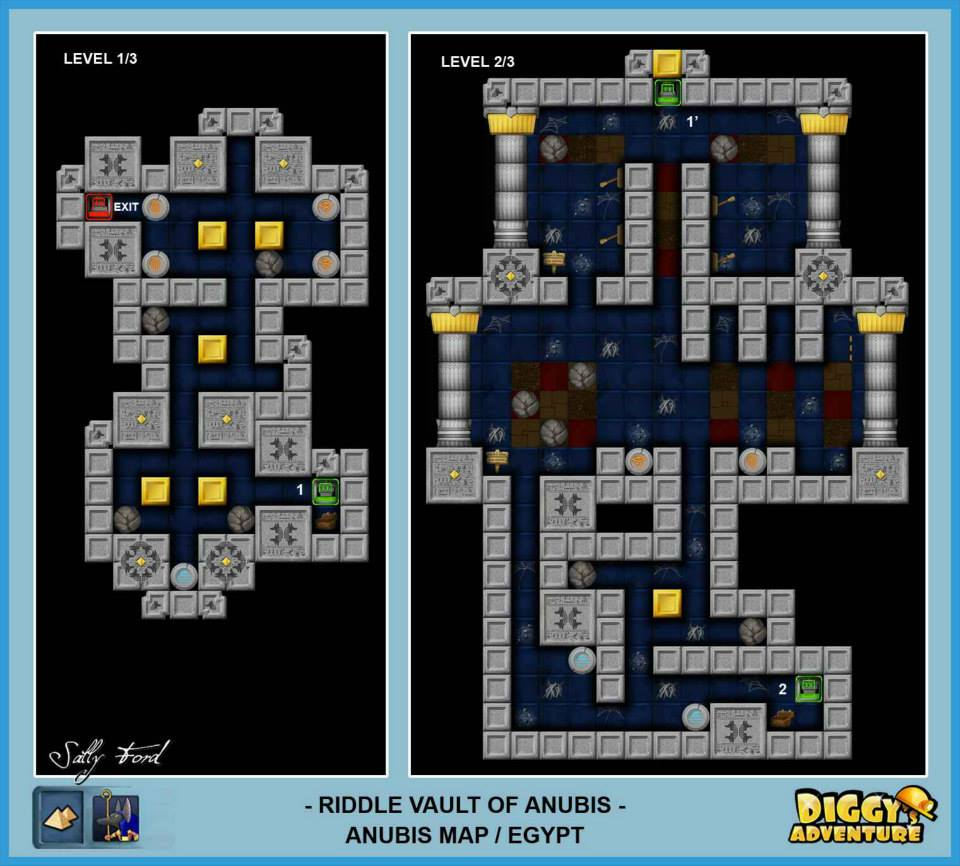 Diggy's Adventure Walkthrough: Anubis Egypt Quests / Riddle Vault of Anubis - Level 1 and 2